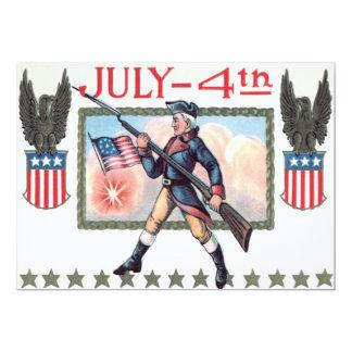 Bouclier révolutionnaire de drapeau américain de carton d'invitation  12,7 cm x 17,78 cm