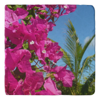 Bougainvillea and Palm Tree Tropical Nature Scene Trivet