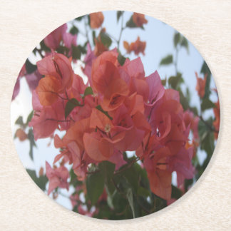 Bougainvillea At Daybreak Round Paper Coaster