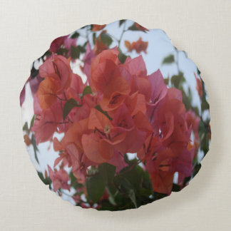Bougainvillea At Daybreak Round Pillow