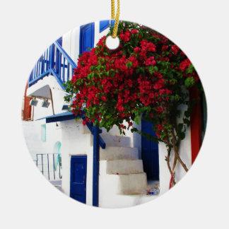 Bougainvillea growing on house in Mykonos, Greece Ceramic Ornament