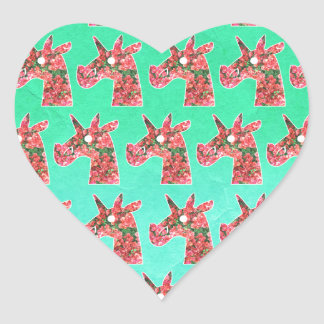 Bougainvillea Unicorn Heart Sticker