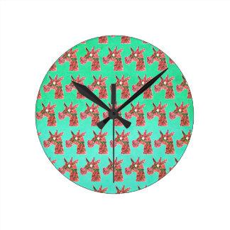 Bougainvillea Unicorn Round Clock