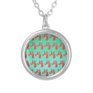 Bougainvillea Unicorn Silver Plated Necklace