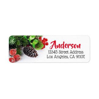Boughs & Berries Holiday Return Address Label