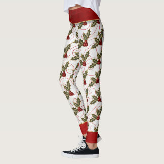 Boughs of Holly with Red and Gold Stylish Leggings