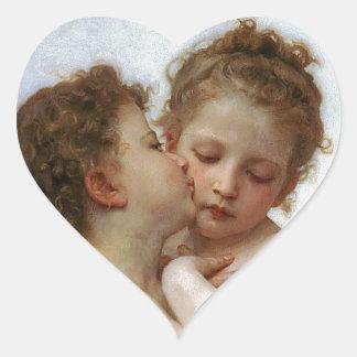 """Bouguereau, """"First kiss"""" Heart Sticker"""
