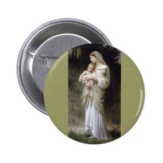 Bouguereau Innocence Lady Child Lamb 2 Inch Round Button