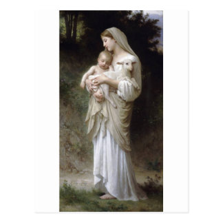 Bouguereau Innocence Lady Child Lamb Postcard