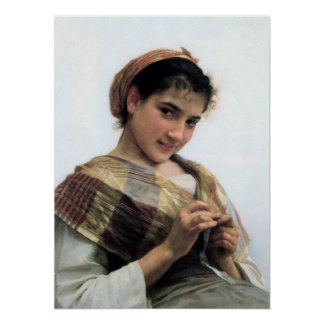 Bouguereau - Jeune Fille au Crochet Poster