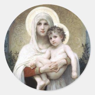 Bouguereau Madona with roses Christianity religion Classic Round Sticker