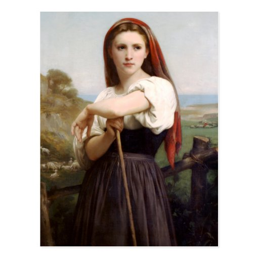 Bouguereau Shepherdess Postcard