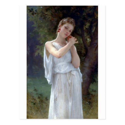 Bouguereau The Earrings Young woman Post Cards