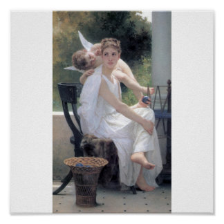 Bouguereau Work Interrupted cupid young lady love Poster