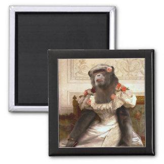 Bouguereau's Chimp Square Magnet