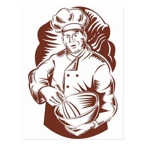 boulanger de cuisinier de chef rétro carte postale