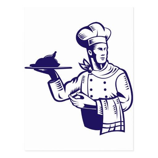 boulanger de cuisinier de chef rétro cartes postales