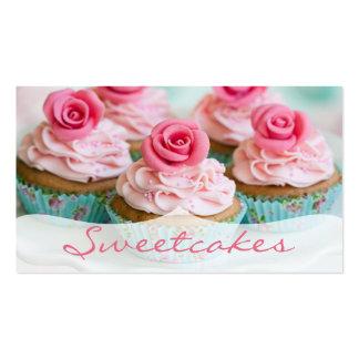 Boulangerie rose de petit gâteau de Teal de n rose Carte De Visite Standard