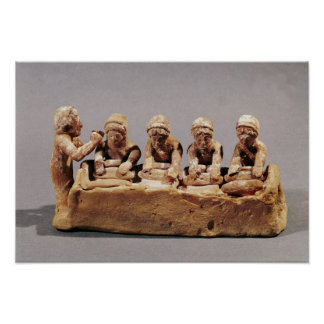 Boulangers malaxant la pâte chez Thebes Posters