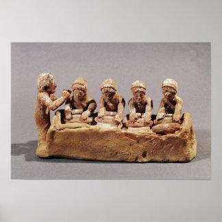 Boulangers malaxant la pâte chez Thebes Poster
