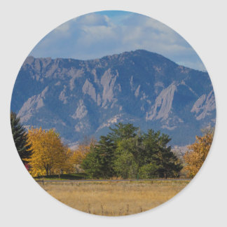 Boulder Colorado Autumn Flatiron Afternoon Classic Round Sticker