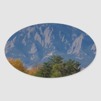 Boulder Colorado Autumn Flatiron Afternoon Oval Sticker