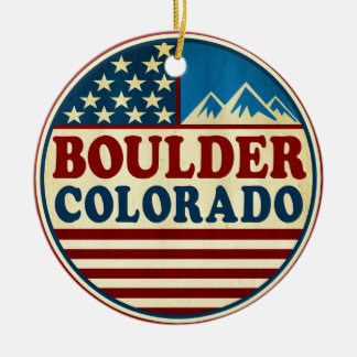 Boulder Colorado Mountains Patriotic Ceramic Ornament