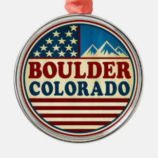 Boulder Colorado Mountains Patriotic Metal Ornament