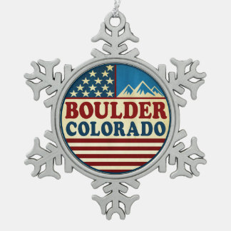 Boulder Colorado Mountains Patriotic Snowflake Pewter Christmas Ornament