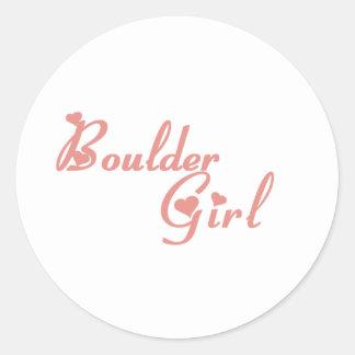Boulder Girl tee shirts Classic Round Sticker