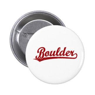 Boulder script logo in red pinback button