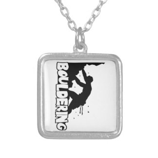 Bouldering_Print Men Silver Plated Necklace