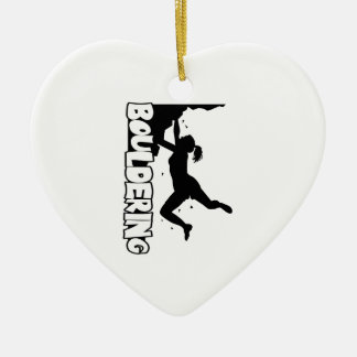 Bouldering_print women ceramic ornament