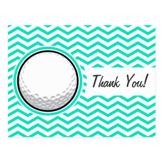 Boule de golf Aqua Chevron vert Carte Postale