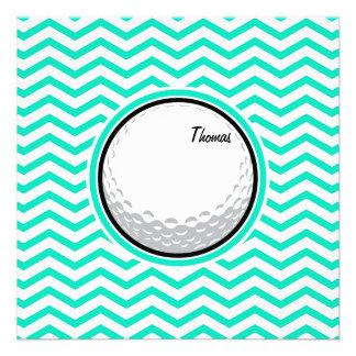 Boule de golf Aqua Chevron vert Cartons D'invitation