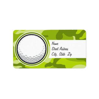 Boule de golf camo vert clair camouflage étiquettes d'adresse