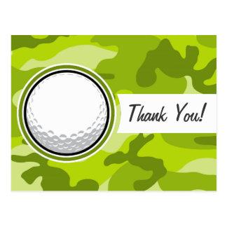 Boule de golf camo vert clair camouflage carte postale