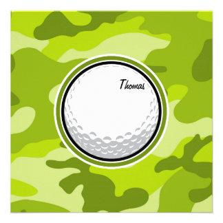 Boule de golf camo vert clair camouflage invitations personnalisées