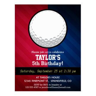 Boule de golf ; Rouge, blanc, et bleu Cartes Postales