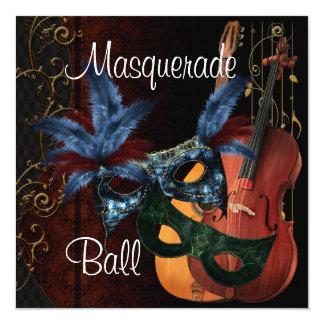 Boule de mascarade bleue d'instruments de musique carton d'invitation  13,33 cm