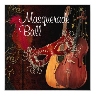 Boule de mascarade rouge d'instruments de musique carton d'invitation  13,33 cm