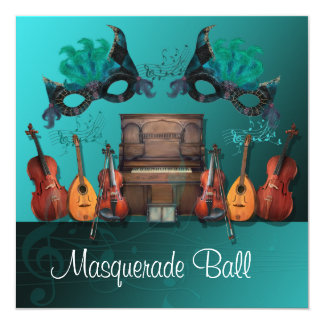 Boule de mascarade turquoise d'instruments de carton d'invitation  13,33 cm