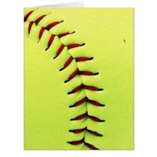 Boule jaune du base-ball carte de vœux grand format