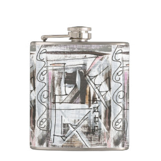 Boulevard-Hand Painted Abstract Brushstrokes Hip Flask