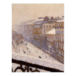 Boulevard Haussmann in the Snow by Gustave Postcard