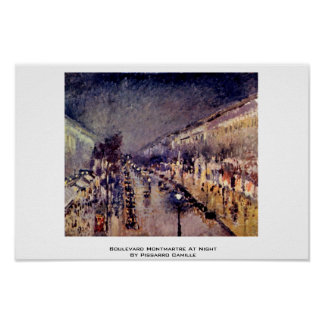 Boulevard Montmartre At Night By Pissarro Camille Poster