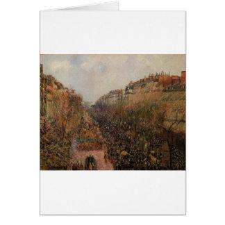 Boulevard Montmartre Mardi Gras by Camille Pissarr Card