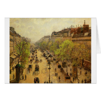 Boulevard Montmartre Spring by Camille Pissarro Card