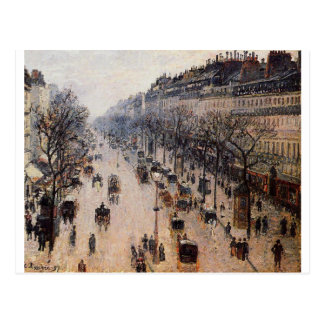 Boulevard Montmartre Winter Morning by Camille Postcard