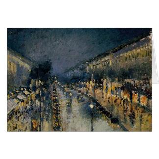 Boulevarde Montmartre at Night  ~ Camille Pissarro Card